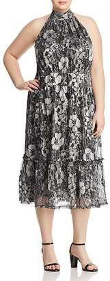 MICHAEL Michael Kors Metallic Floral-Print Midi Dress