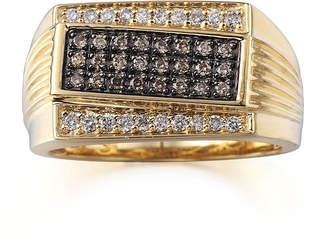 FINE JEWELRY Mens 1/2 CT. T.W. Champagne and White Diamonds 10K Yellow Gold Ring