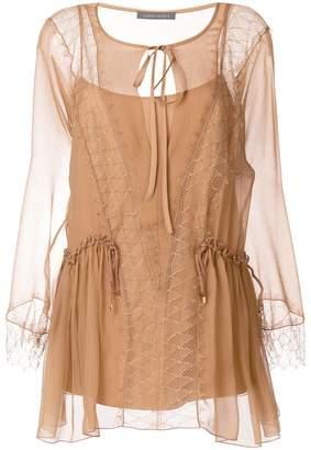 Alberta Ferretti sheer lace blouse