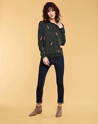 Joules Festive Intarsia Jumper in Green Robins