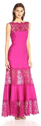 Tadashi Shoji Women's Pintucked Jersey Gown with Lace Illusion Neck
