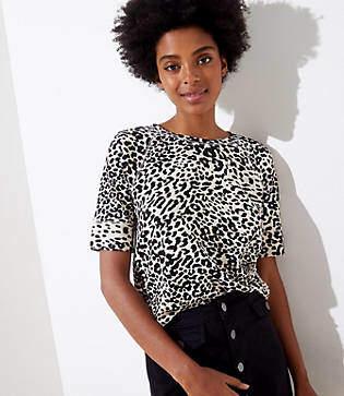 LOFT Cheetah Print Sweatshirt Tee