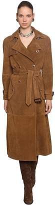 Etro Suede Trench Coat W/ Jeweled Buttons
