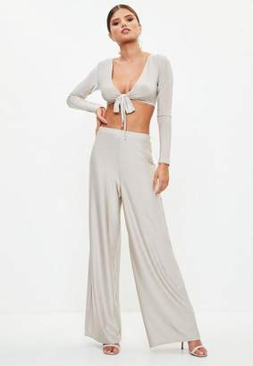 Missguided Silver Disco Slinky Wide Leg Pants