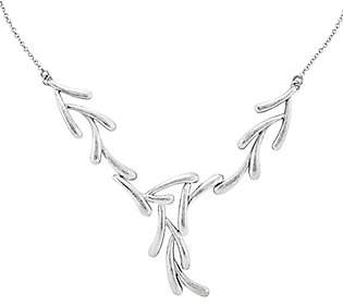 "QVC Sterling 17"" Textured-Finish Tree Branch Neckla"