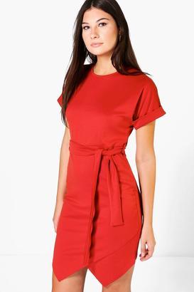 boohoo Maurie Asymmetirc Tie Waist Wrap Dress $32 thestylecure.com