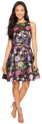 Tahari ASL Petite Metallic Floral Fit and Flare Dress Women's Dress