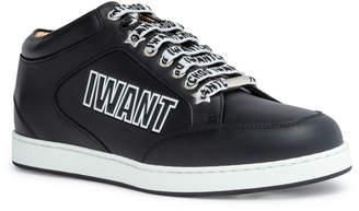 Jimmy Choo Miami black leather logo sneakers