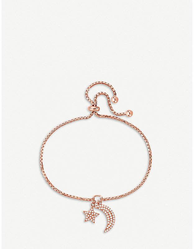 Charm Mates rose gold-plated moon and star bracelet