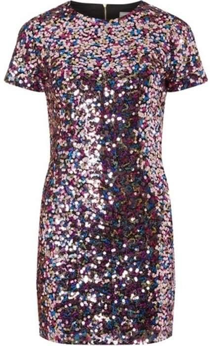 Womens Petite Pink Sequin Bodycon Dress