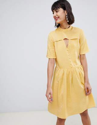 Pieces Tea Dress With Button Detail