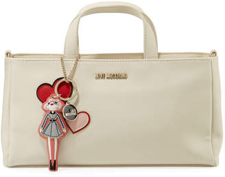 Love Moschino Top-Handle Tote Bag with Girl Charm