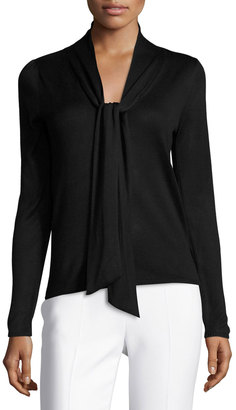 Neiman Marcus Long-Sleeve Tie-Neck Sweater, Black $65 thestylecure.com