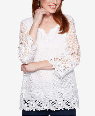 Alfred Dunner Smooth Sailing Crochet-Lace 3/4-Sleeve Top