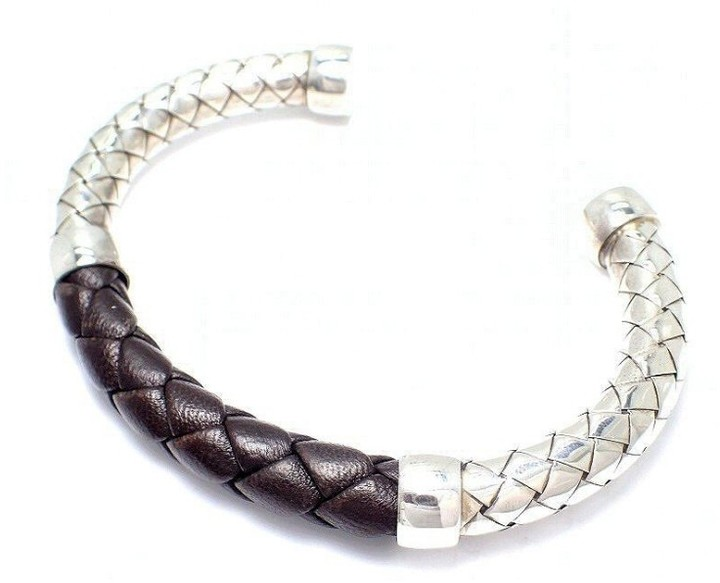 Bottega Veneta Bottega Veneta Intrecciato SV925 Sterling Silver Leather Bracelet