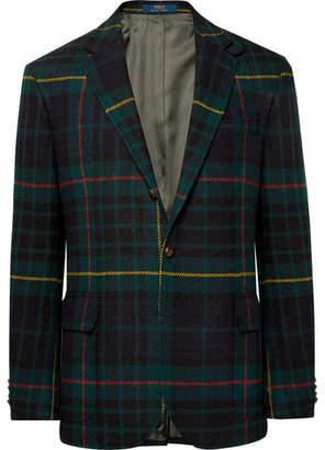 Polo Ralph Lauren Morgan Slim-Fit Nubuck-Trimmed Checked Wool and Alpaca-Blend Blazer - Men - Green