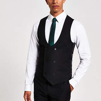 River Island Black double breasted suit waistcoat