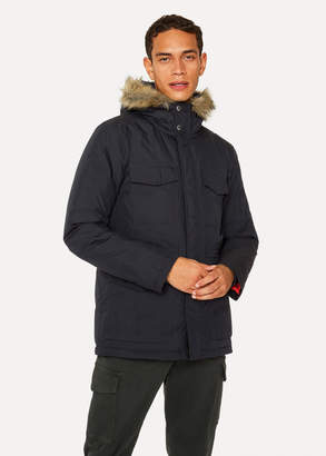 Paul Smith Men's Navy Quilted Parka With Faux Fur Hood Detail