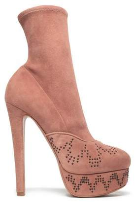Alaia Studded Suede Platform Ankle Boots