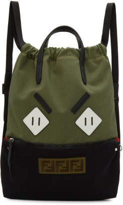 Fendi Green and Black Flat Face Backpack
