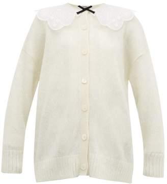 Miu Miu Broderie Anglaise Collar Mohair Blend Cardigan - Womens - Cream Multi