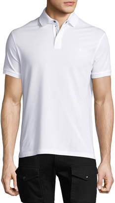 Ralph Lauren Front-Zip Pique Polo Shirt, White