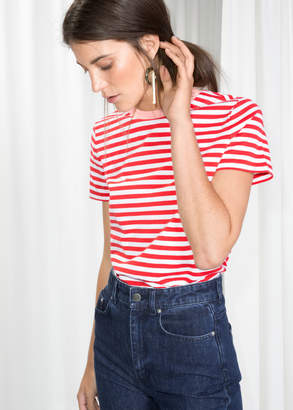 And other stories Contrast Neck Striped Tee