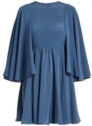 Valentino Cape-sleeve silk-georgette dress
