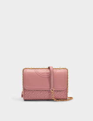 Tory Burch Fleming Small Convertible Shoulder Bag in Pink Magnolia Lambskin Leather