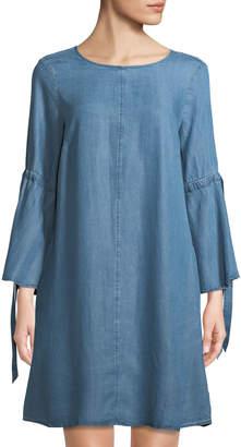 Neiman Marcus Chambray Bell-Sleeve Dress