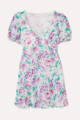 Rixo Morgan Floral-print Linen And Silk-blend Mini Dress - Lilac