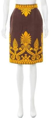 Oscar de la Renta Embroidered Knee-Length Skirt