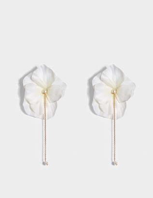 Anton Heunis White Flower Earrings in Pink and Gold Metal