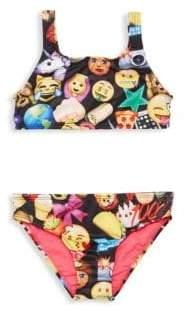 Terez Little Girl's& Girl's Two-Piece Emoji Bikini Top& Bottom Set