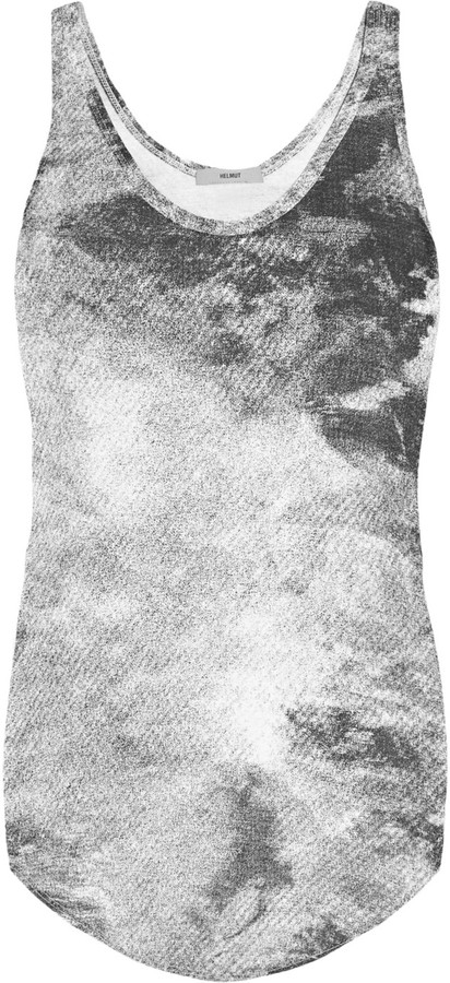 Helmut Lang HELMUT Printed modal and linen-blend jersey tank