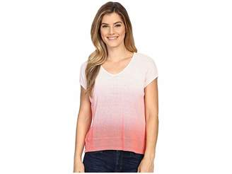 Mod-o-doc Textured Sweater Knit Dip Dye Boxy V-Neck Pullover Women's Sweater