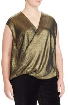 Lauren Ralph Lauren Plus Metallic Surplice Top
