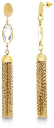 Catherine Malandrino Women White Rhinestone Marquise Shaped Tassel Style Yellow Gold-Tone Dangle Earrings