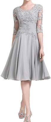 JudyBridal Women's Chiffon Mother Of The Bride Groom Dress With Half Sleeves US