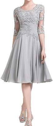 JudyBridal Women Chiffon Mother Of The Bride Groom Dress With Half Sleeves US