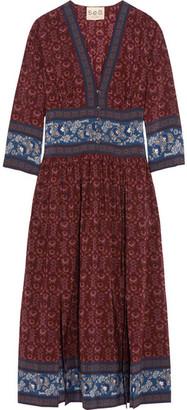 SEA - Printed Silk Crepe De Chine Midi Dress - Burgundy $445 thestylecure.com