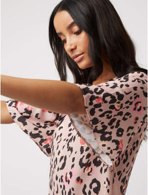 George Pink Animal Print Shift Dress