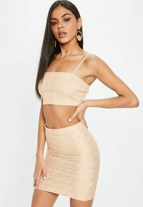 Missguided Nude Bandage Ribbed Bralette
