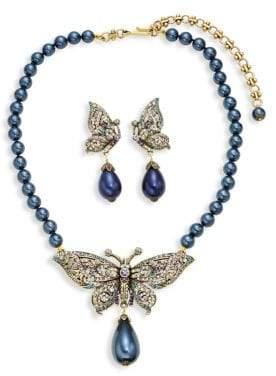 Heidi Daus Butterfly Faux Pearl Necklace & Earring Set