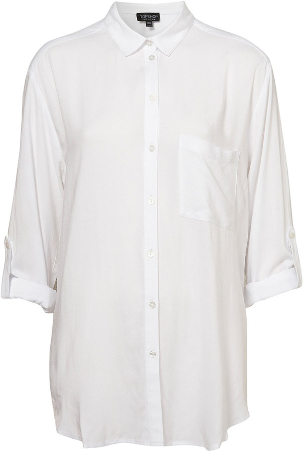 White Rolled Sleeve Shirt