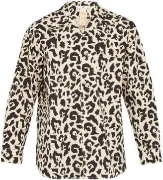Eytys Donovan Leopard Print Cotton Shirt - Mens - Black White