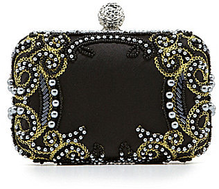 Kate Landry Social Bead & Embroidered Box Frame Clutch