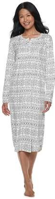 Croft & Barrow Women's Pintuck Velour Nightgown