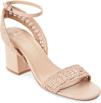 Marc Fisher Lite Latte Amere Leather Block Heel Sandals
