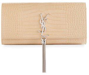 Saint Laurent Kate Monogram Tassel Faux-Crocodile Clutch Bag